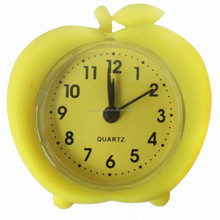 G0004 apple shape unbreakable silicone 2.5 inch small alarm clock