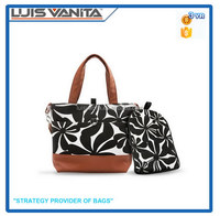 Stylish Black Flower Canvas Diaper Tote Bag