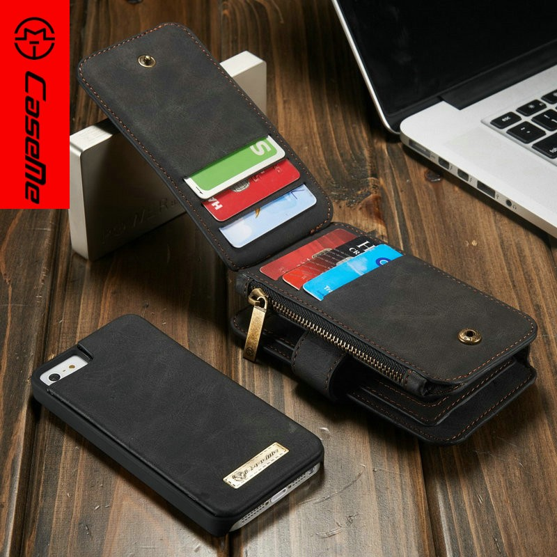 CaseMe Manufactur Wholesale Customize Welcome With Card Slot PU Genuine Leather Flip Wallet Case for Apple iPhone SE 5 5s
