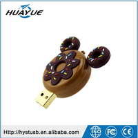 2015 Top sell Factory price Silicone cartoon doughnut usb stick food shaped usb flash drive 16gb 32gb pendrive