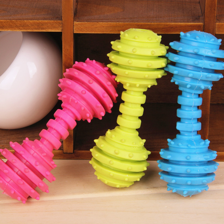 Pet toys resistant TPR Rubber toy Clean teeth dog bite barbed barbell toxic environmentally friendly Dog Chew Toys