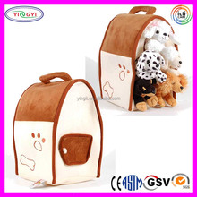 B735 Brown Plush Pet Dog House Play Carrying Pet Transport Box
