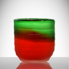 cheap small hand cut crackle red green candle glass jars wholesale for home decoration