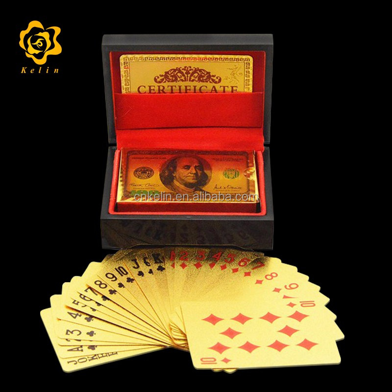 Best Selling Product 999.9 Gold Playing Card with Black Case for Collection Gift