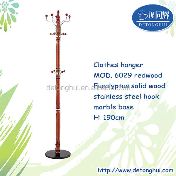 Home furniture European design wood hangers for drying clothes and caps(6029 redwood)