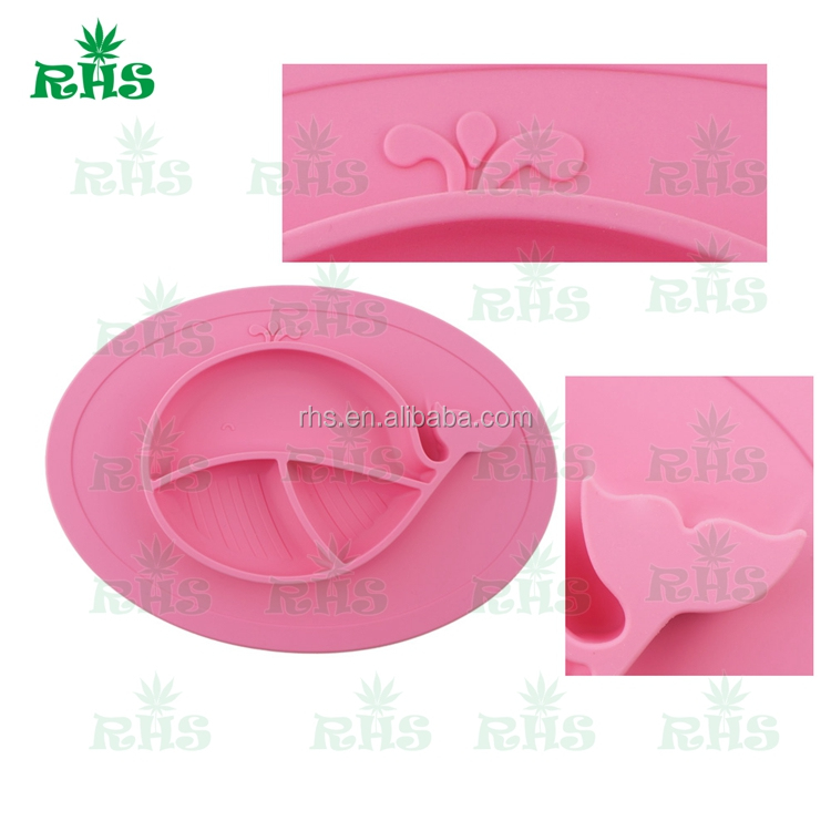 One-piece Slip Resistant Silicone Baby Placemat & Table Mat & Baby Plate Set Wholesale