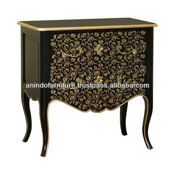 Burlesque Commode 2 Drawers with Flowers Paint Motif