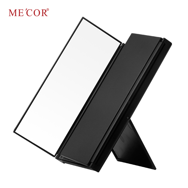 Tri-fold plastic desktop hollywood led makeup mirror