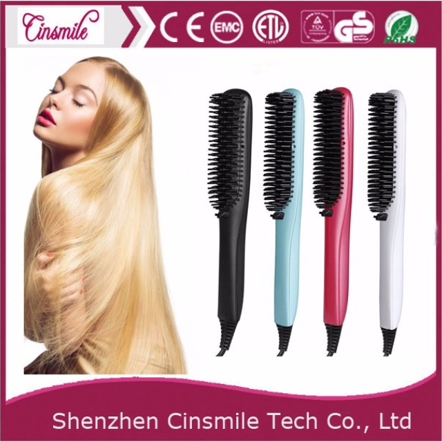 2017 Hot sale LCD display rechargeable cheap electric hair straightener brush with Ionic