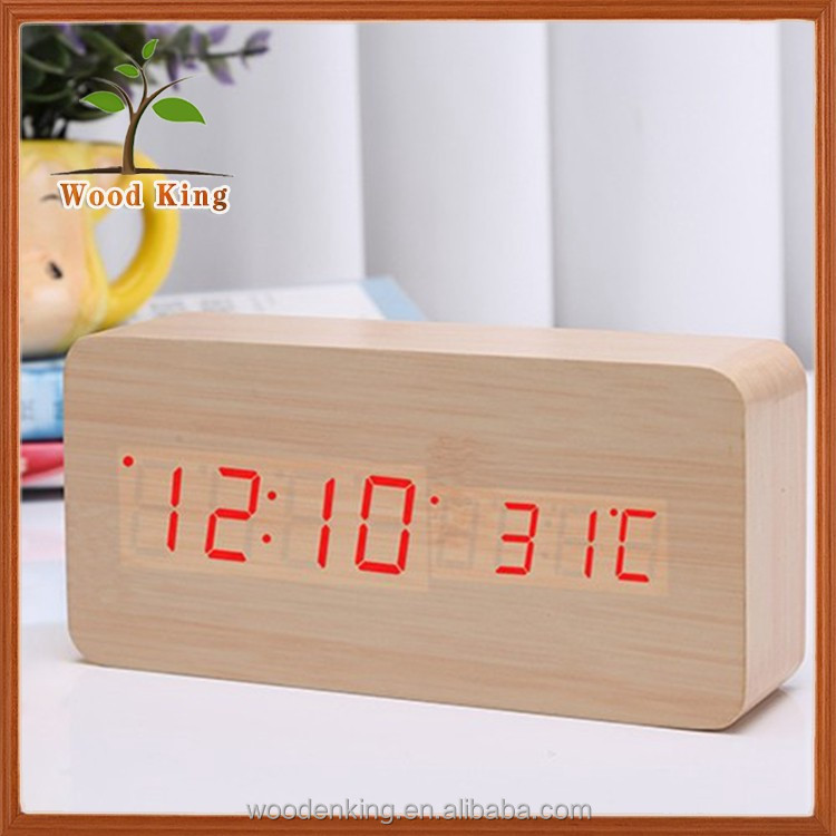 The Clock Wholesale Silent Alarm Clock Electronic Wood Retro Alarm Clock