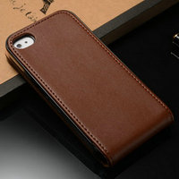 Real leather flip mobile hard phone case for Iphone 4 / 4S / 4G with 100% hand made craftsmanship