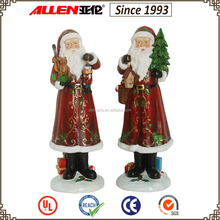 "14.6"" holding gifts and christmas tree poly resin santa claus statues"