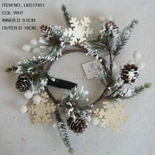Christmas Decorations Artificial 9.5CM FOAM BERRY WITH SUGAR AND PINECONE CANDLE RING Table decorations