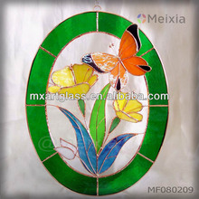 MF080209 china wholesale tiffany style stained glass butterfly wall hanging panel window decorations for home decoration