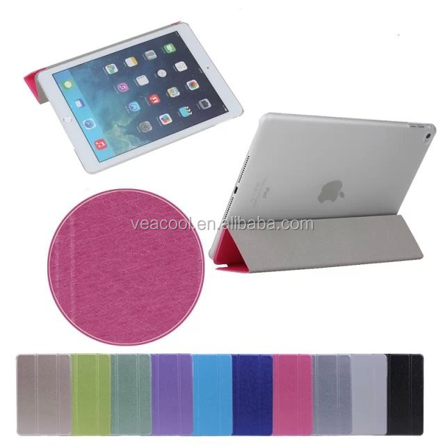Popular Silk Ultra Thin Tri-fold Stand Folio Fold Case Cover for iPad Air 2/6