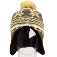 China manufacturer outdoor sport ski jacquard winter knitting hat with earflaps pattern