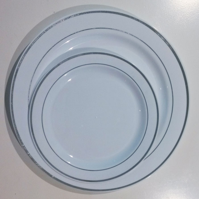 Hot sale China supplier Plastic dishes with gold rim