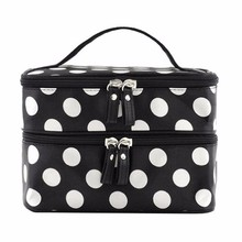 Double layer dot pattern travel black cosmetic bag