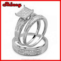 0.25 Carat Round White Diamond Men & Womens Micro Pave Engagement Ring Trio Bridal Set 14 CT