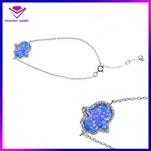 Hot Sale High Quality Luxury 925 Sterling Silver Synthetic Opal Hand/Hamsa Bracelet Adjustable Bracelet