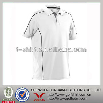 High quality performance white golf polo shirt with gray trim