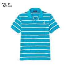 China Import Loose Fit Cotton Man T shirts Blue And White Striped Polo Shirt