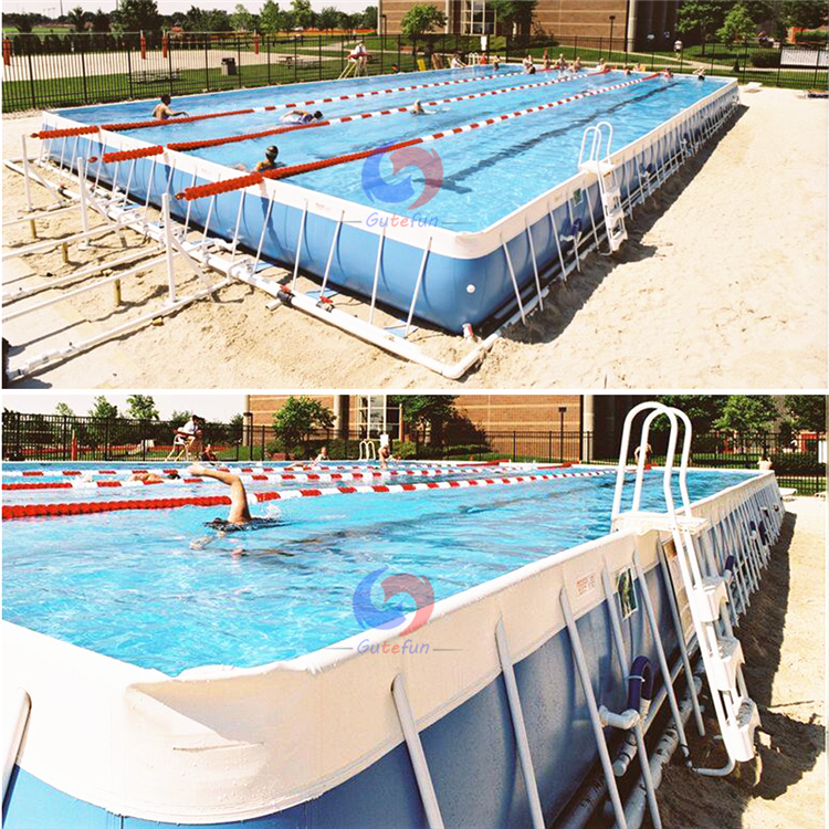 portable galvanized steel frame structure square above ground swimming pool  for school demo event, View galvanized steel swimming pool, Gutefun ...