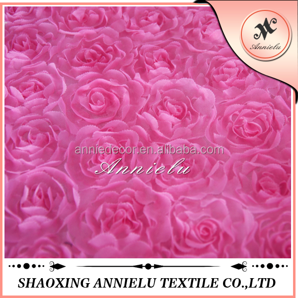 Wholesale blush rosette mesh embroidered fabric