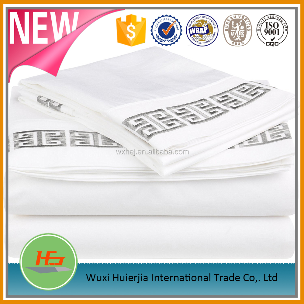 wholesale 100% cotton Greek Key Embroidery king size bed sheets