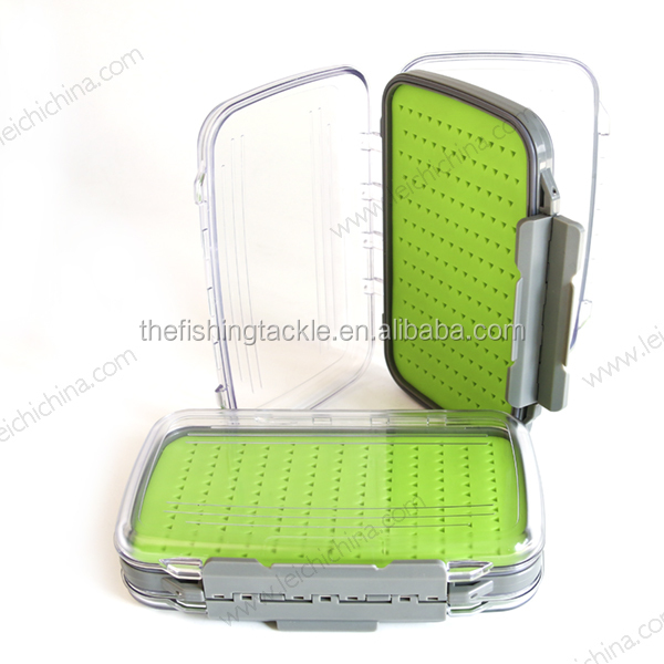 Plastic silicone waterproof fly fishing double side tackle case