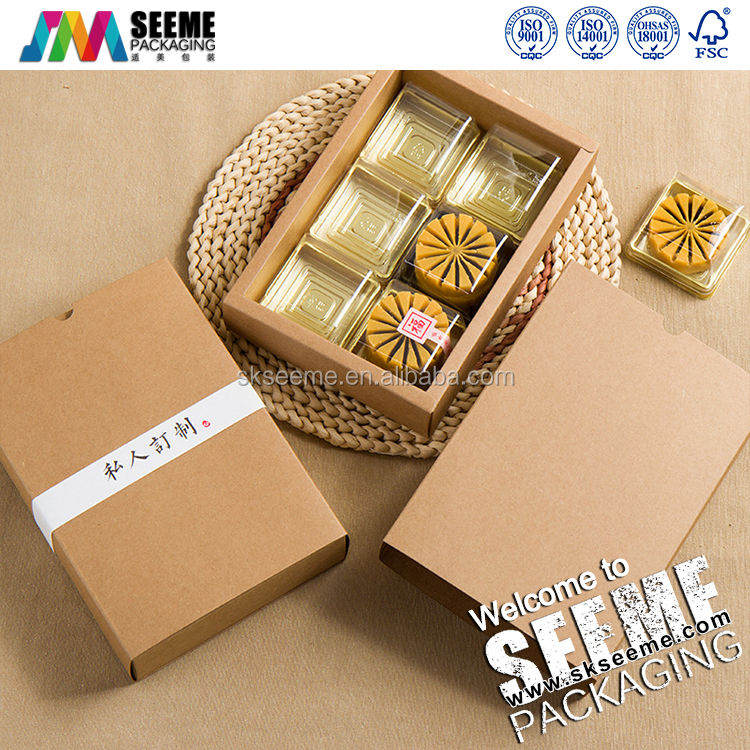 Brown kraft paper cupcake/moon cake/bakery paper box