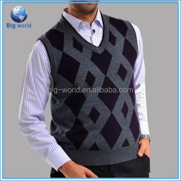 2015 V-neck Mens Knitted Cardigan Fitted Wool mens sleeveless cardigan sweaters