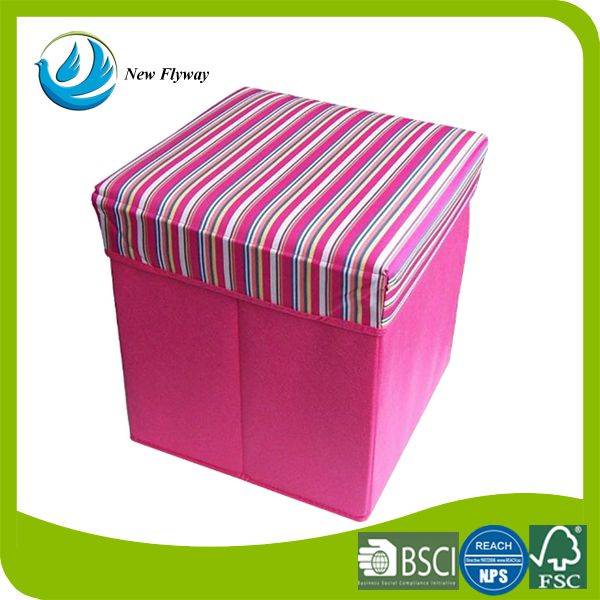 New products polyester portable folding storage ottoman storage stool