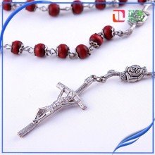 Factory red wood rose scented bead rosary