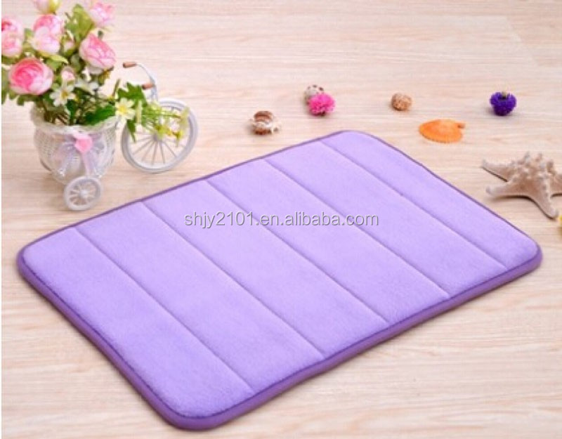 Solid purpul colour 100% polyester China factory quilted pattern flooring living Bath room carpet rug