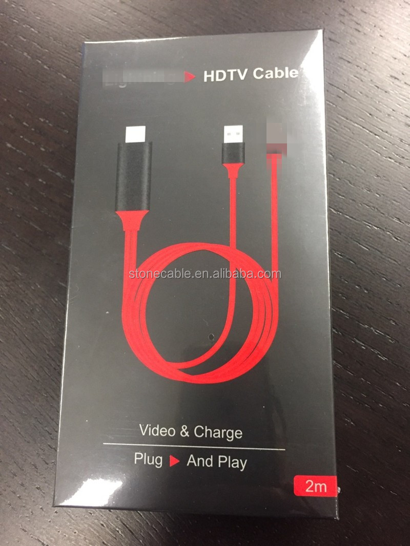 2016 new product Plug and play for lightning to hdTV cable for iphone iphone 5 / 5s /6/ 6s /7 No need to set up