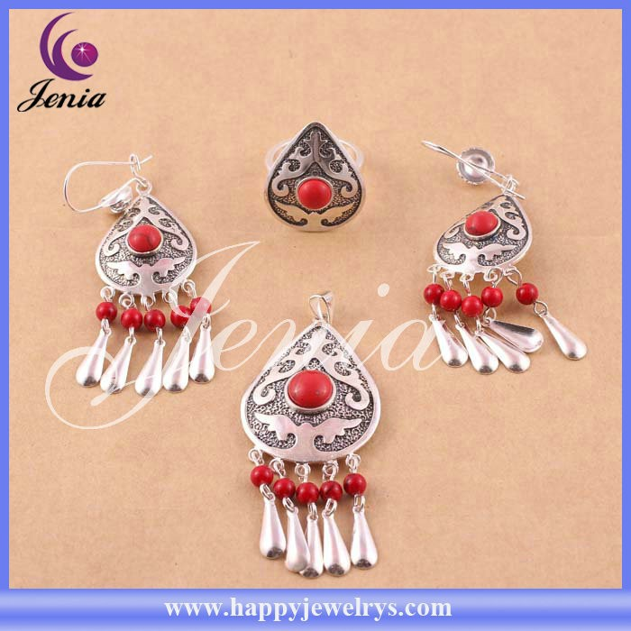 New trendy best selling red agate fashion jewelry set thai silver antique indian jewellery (6308T9-1)
