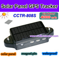 Waterproof solar panel gps tracker with 4000mAh big battery can charged by solar power,