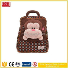 2017 pp cotton good quality monkey shaped baby plush backpack