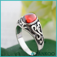 Thai Silver Carve Inlaid Garnet Red Corundum Vampire Rings