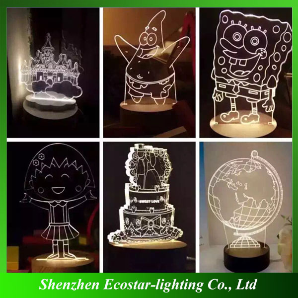 2016 Top quality LED optical illusion 3D night light/table decoration lamp