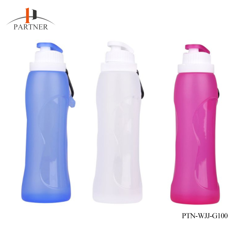 Outdoor Bottles 500ml Eco-Friendly Silicone Travel Sport Flexible Collapsible Water Bottles Foldable Drinkware