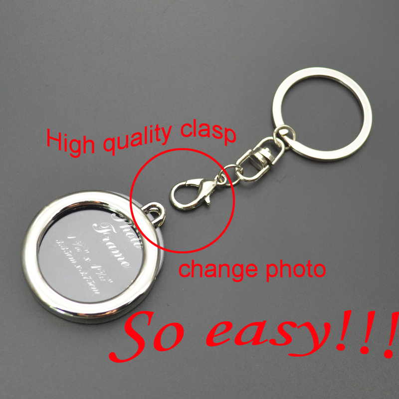 Oval Shaped Giveaway Metal Photo Frame Key Ring