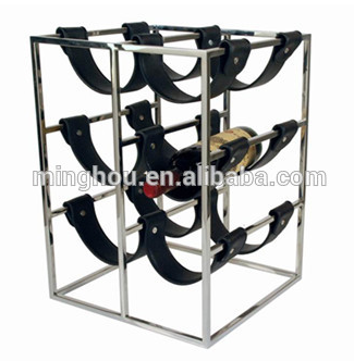 6 bottle metal bridle wine bottle racks with PU leather belt holder