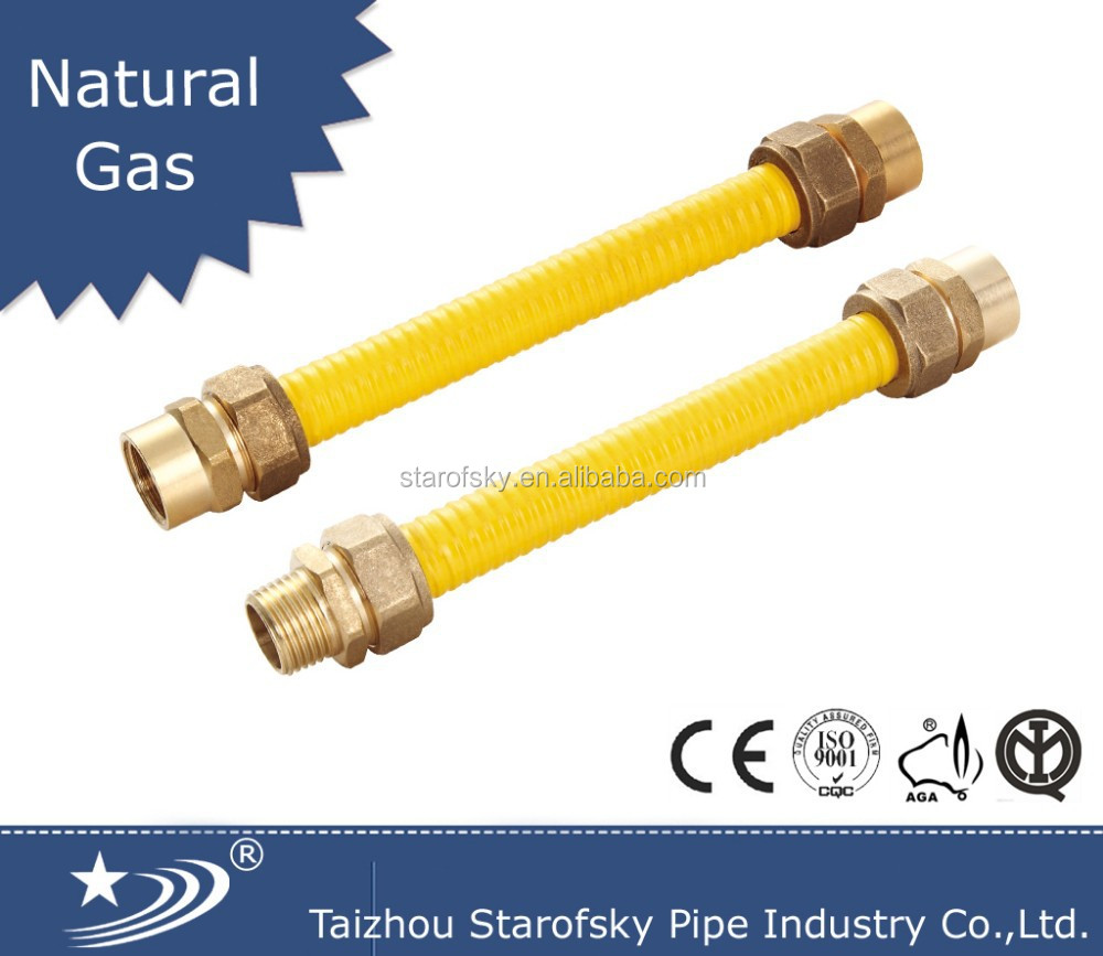 15266:2007 SS yellow flexible gas pipe with brass fitting
