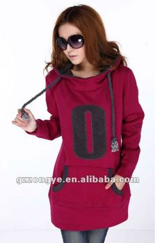 Rose red women cotton pullover hoodies
