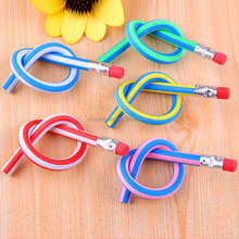 Cute Stationery Colorful Magic Bendy Flexible Soft Pencil with Eraser Student School Office Use