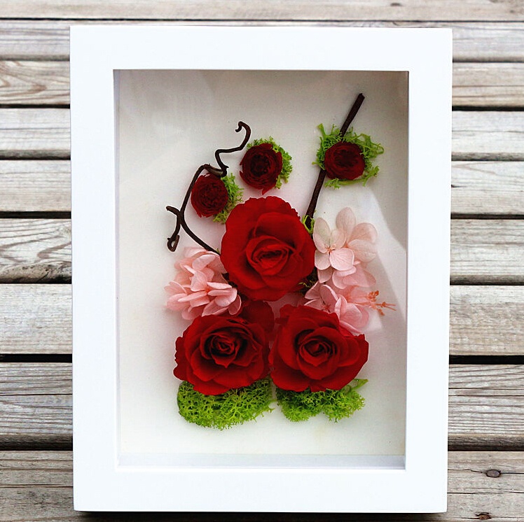Hot sale flower exhibition white color art 3d box frames