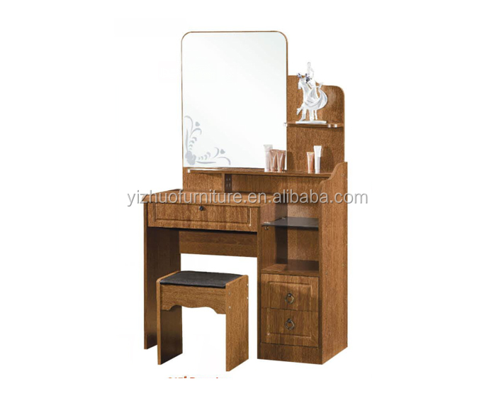 Home Furniture General Use and Dresser Specific Use wooden dressing table with mirror and stool
