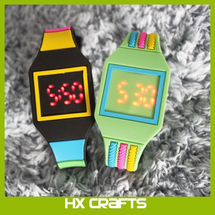 Children LED Watches Women Candy Color plastic Silicone Rubber Touch Screen Digital Watch